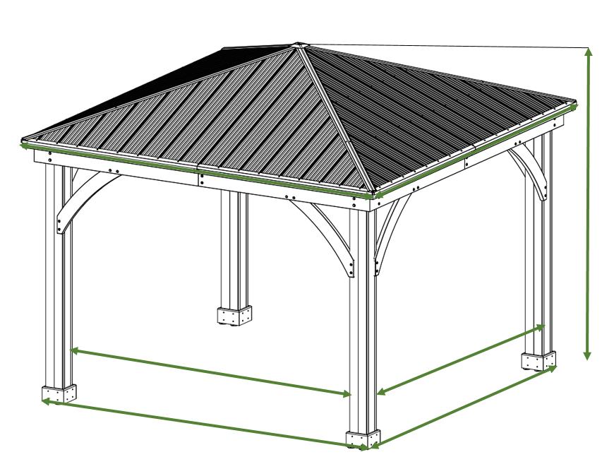12 X 12 Cedar Gazebo With Aluminum Roof Aluminum Roof Gazebo Backyard Gazebo