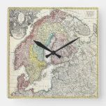Vintage Scandinavia Map Square Wall Clock#vintage #maps #travel #charts #gifts