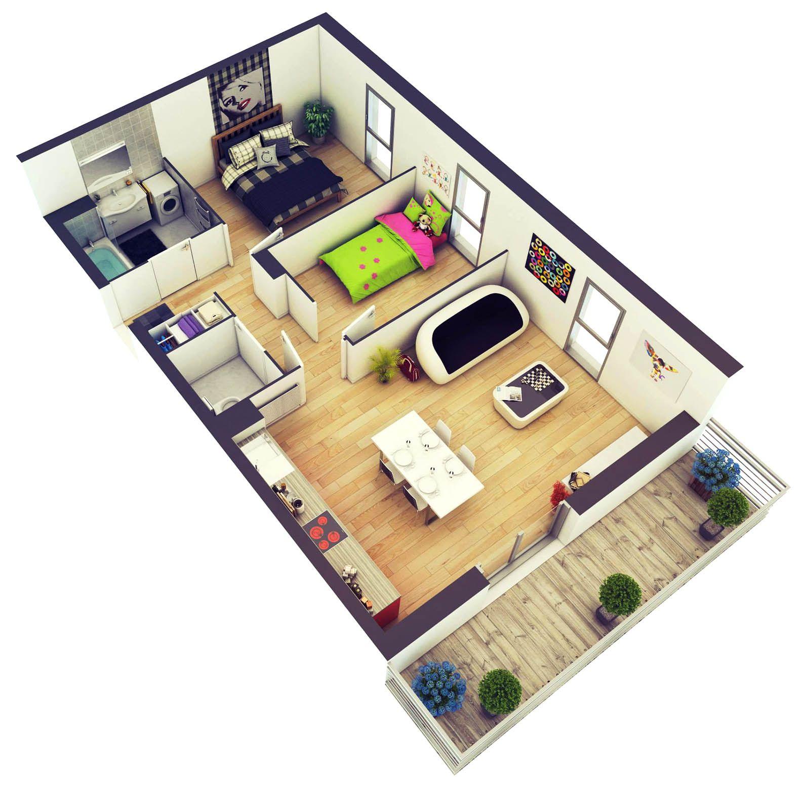 25 More 2 Bedroom 3D Floor Plans Konteyner ev, Evler