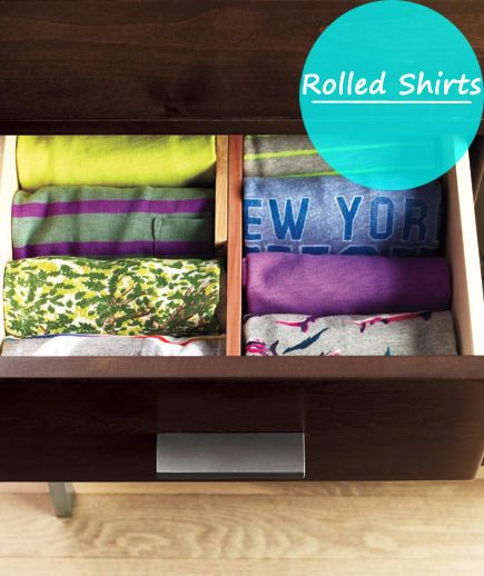 You can increase dresser space by rolling your shirts.