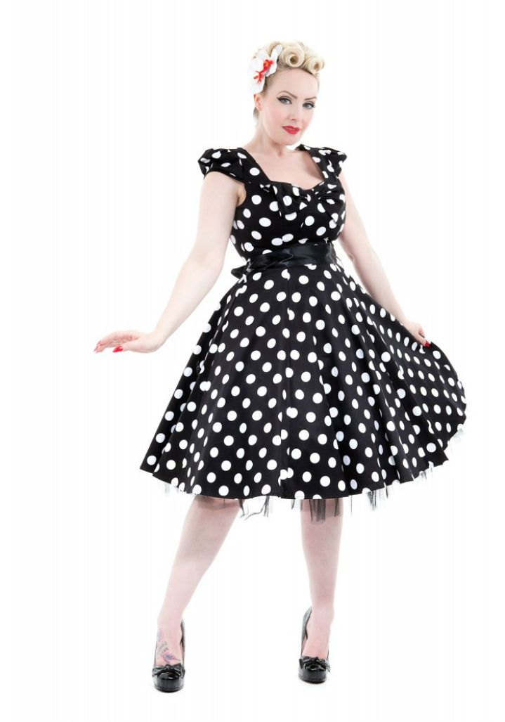 73cef9c73223b $54.99 Hearts & Roses London black and white big polka dot 50's style dress  with elasticated puff sleeves and matching removable bow in front.