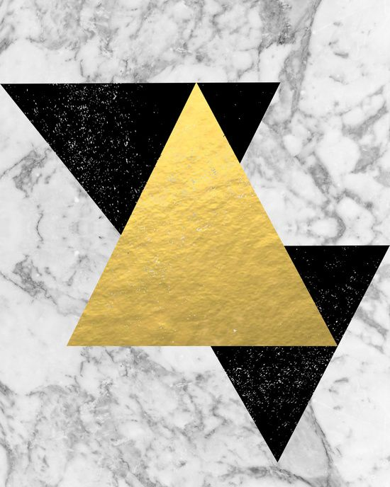 Marble Tri Black & Gold - gold foil, gold, marble, black and white ...
