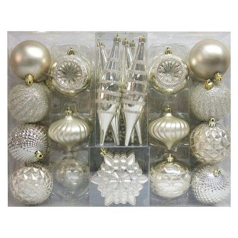 christmas ornament set champagne variety 40 ct