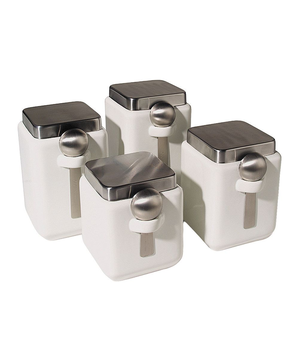 white square canister u0026 spoon 4 piece set kitchen pinterest