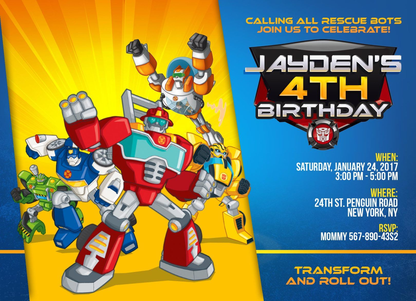 Rescue Bots printable Personalized Transformers Rescue Bots birthday centerpieces Transformers Rescue Bots birthday party Transformers
