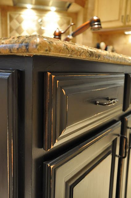 Evolution Of Style How To Paint A Kitchen Island Part 1 Distressed Kitchen Cabinets Black Kitchen Cabinets Painted Kitchen Island