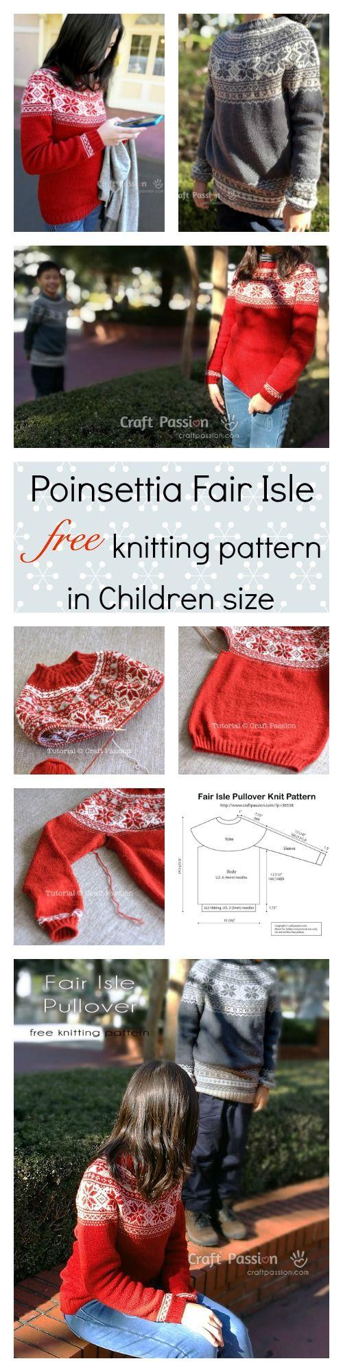 Fair Isle Pullover - Children Size - Free Knitting Pattern ...