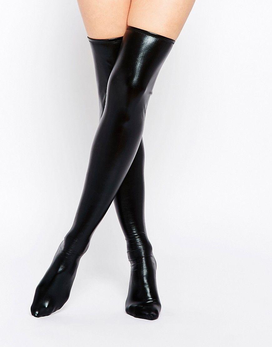 f1919140c5c3e Stockings & Thigh-Highs Leg Avenue black wet look thigh high leggings  Women's Clothing