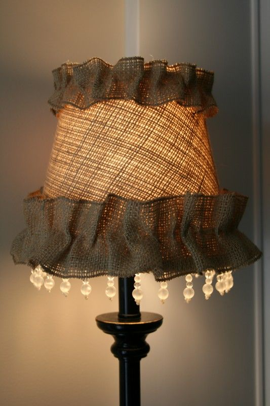 Shabby burlap lampshade diy cute maybe just one row of ruffle and shabby burlap lampshade diy cute maybe just one row of ruffle and no hanging beads mozeypictures Choice Image