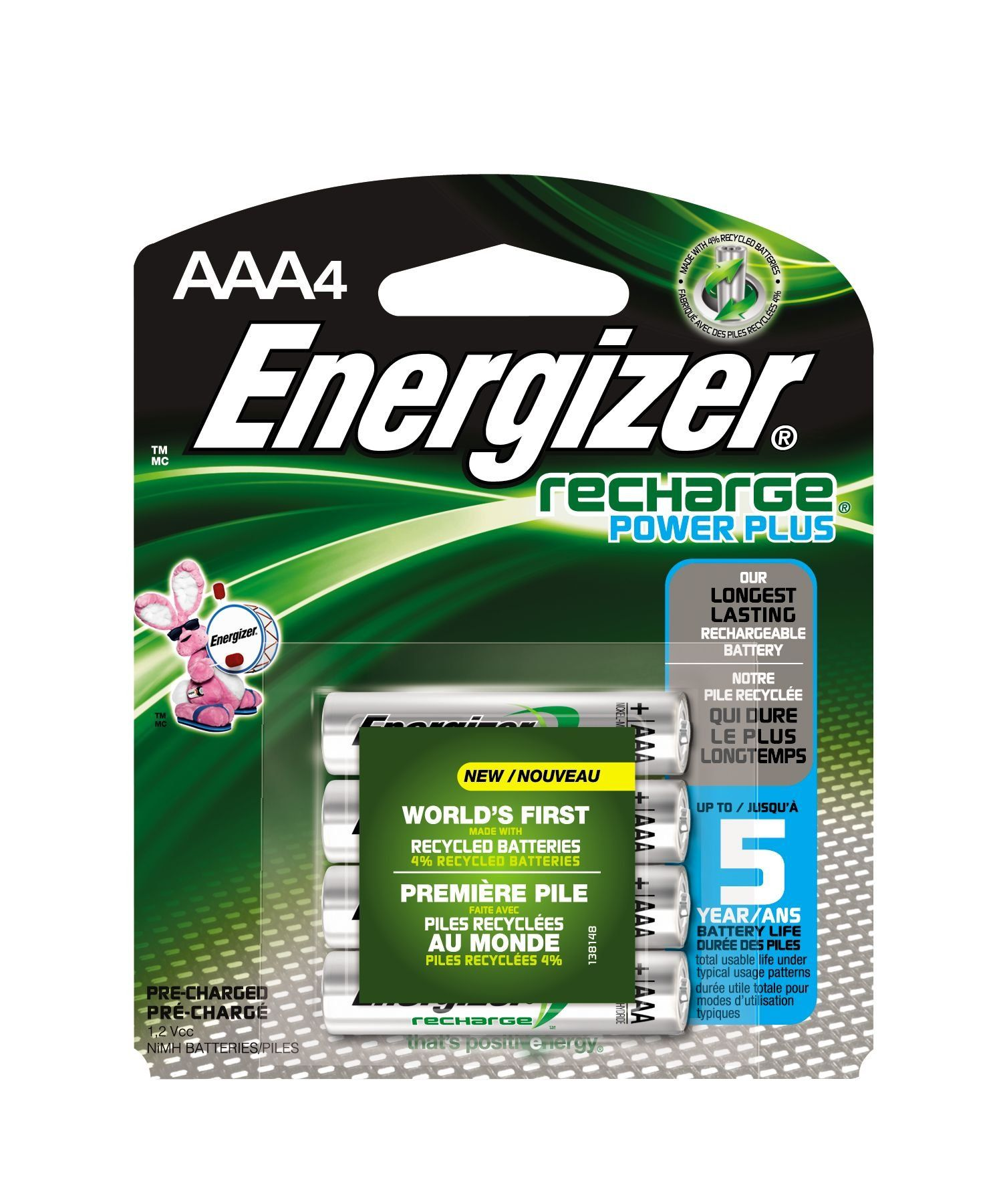 Energizer Evenh12bp4 Recharge Power Plus Aaa 700 Mah Rechargeable Batteries Pre Charged Pack Of 4 Rechargeable Batteries Energizer Batteries