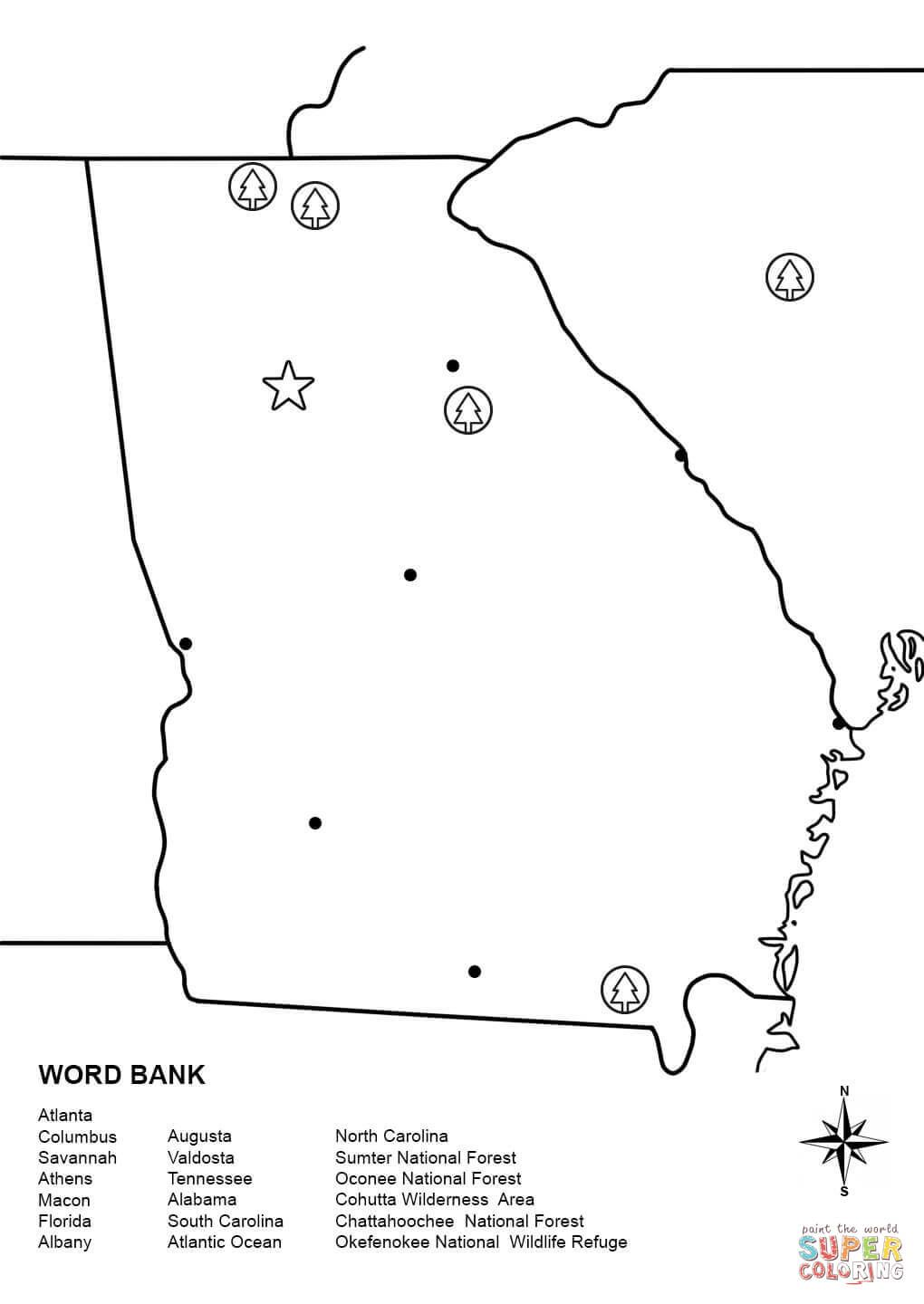 Click The Georgia Map Worksheet Coloring Pages To View Printable