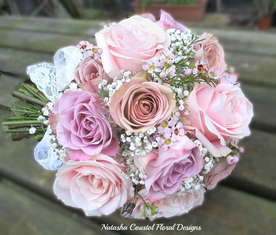 Wedding Bouquet Quotes: Bridal Bouquet Of Dusky Pink Roses And Gypsophila. Roses
