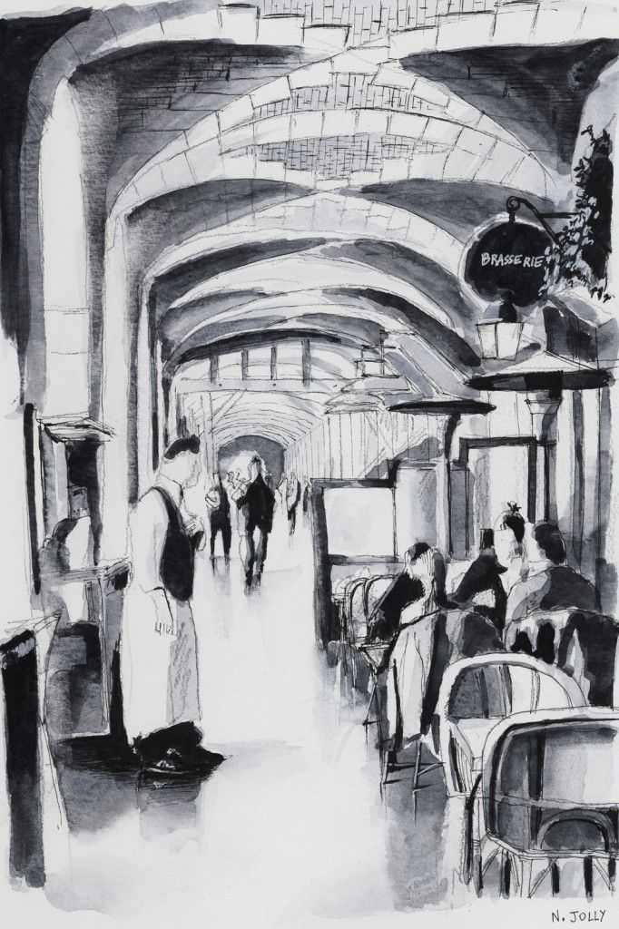 Brasserie. Paris. Black ink drawing. By Nicolas Jolly. #drawing #watercolor #painting #art