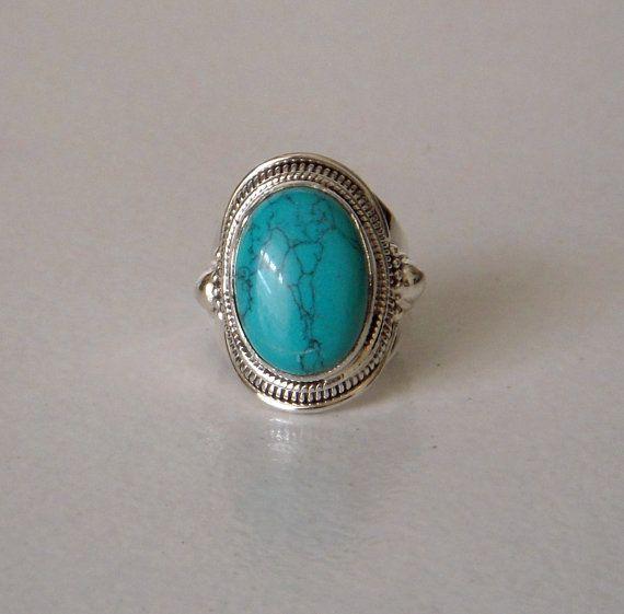 Femme Solide Argent Sterling 925 Bleu Vintage Filigrane Ovale Lab Turquoise ring