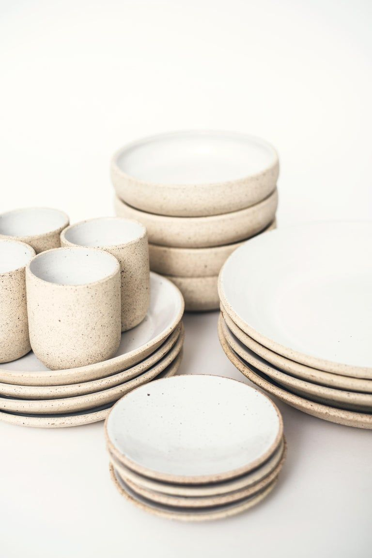 Handmade Ceramic Stoneware Five Piece Place Setting in Ivory and Natural