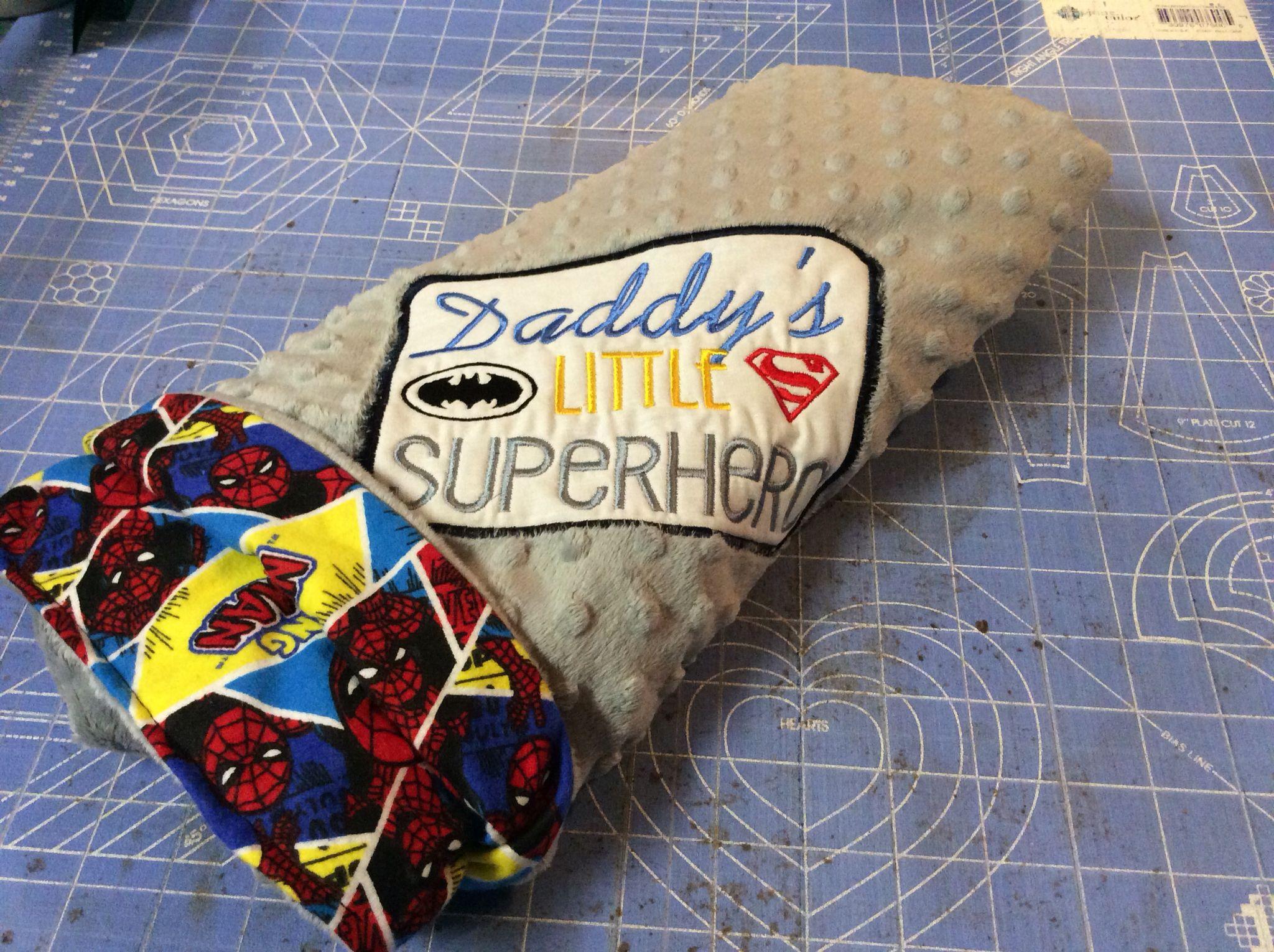 Handmade minky fleece/Spiderman blanket with embroidery design