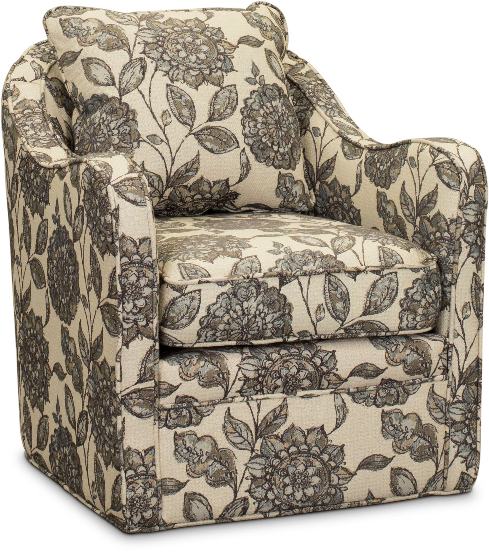Best Ivory Gray And Blue Wide Seat Swivel Accent Chair 400 x 300