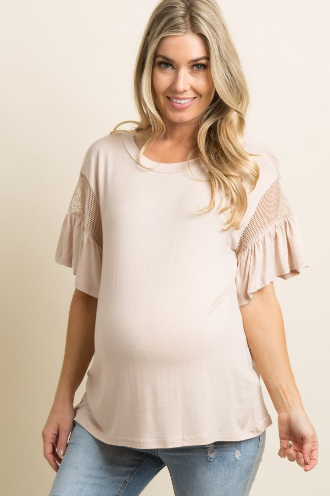 66fe10b2faa07 A solid hued maternity top featuring short sleeves with sheer mesh and  ruffle trim, and a rounded neckline. This style was created to be worn  before, ...