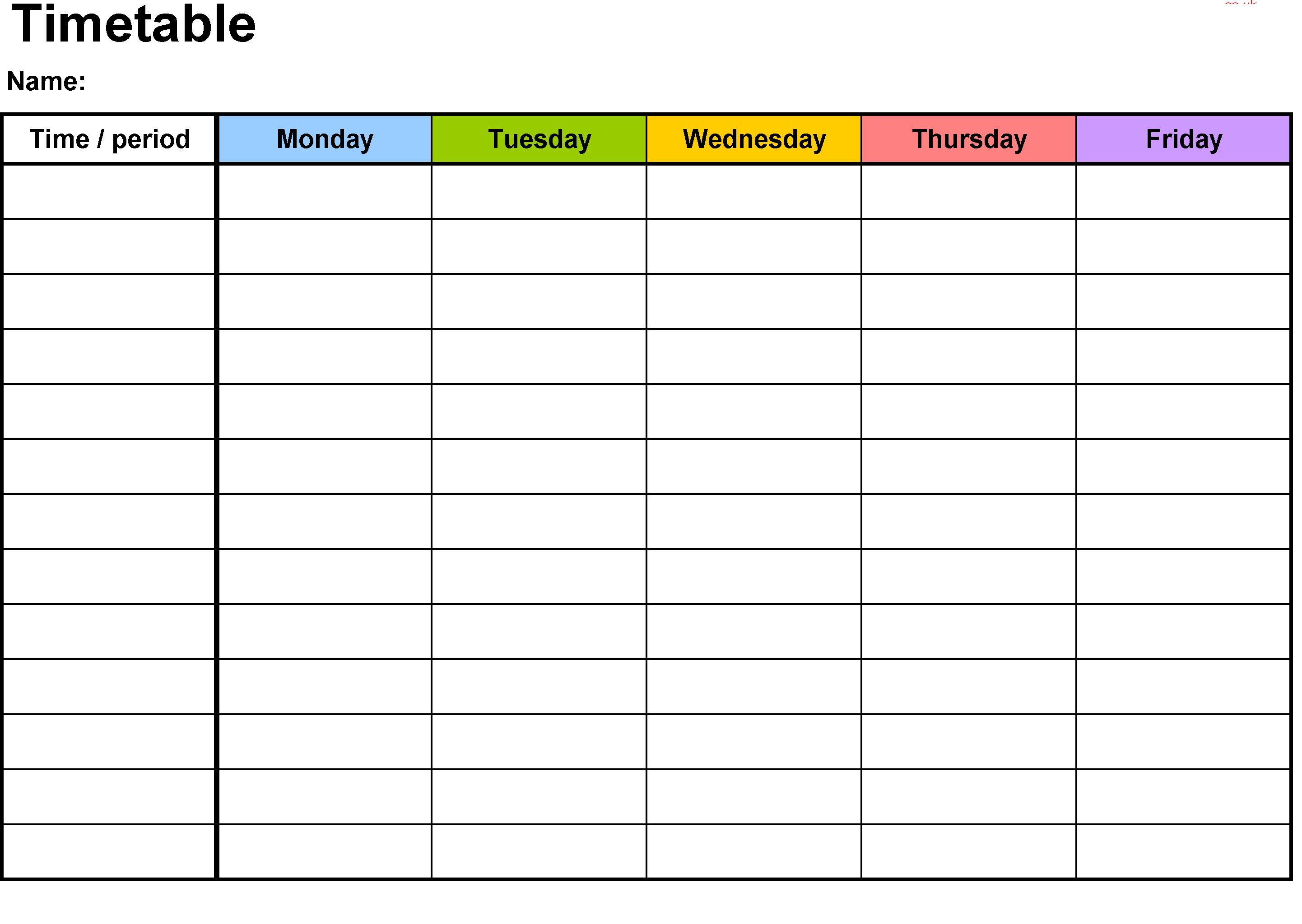 time table school template time table template school study