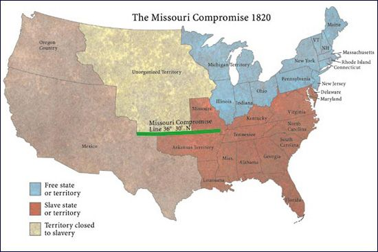 This Is a map of the Missouri Compromise  of 1820  now in this image     This Is a map of the Missouri Compromise  of 1820  now in this image the  KS NE territory is marked as a free territory BUT closed to slavery