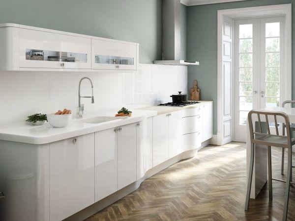 weiße küchenzeile graue wandfarbe parkett Weiße Küchen - küchenzeile weiß hochglanz
