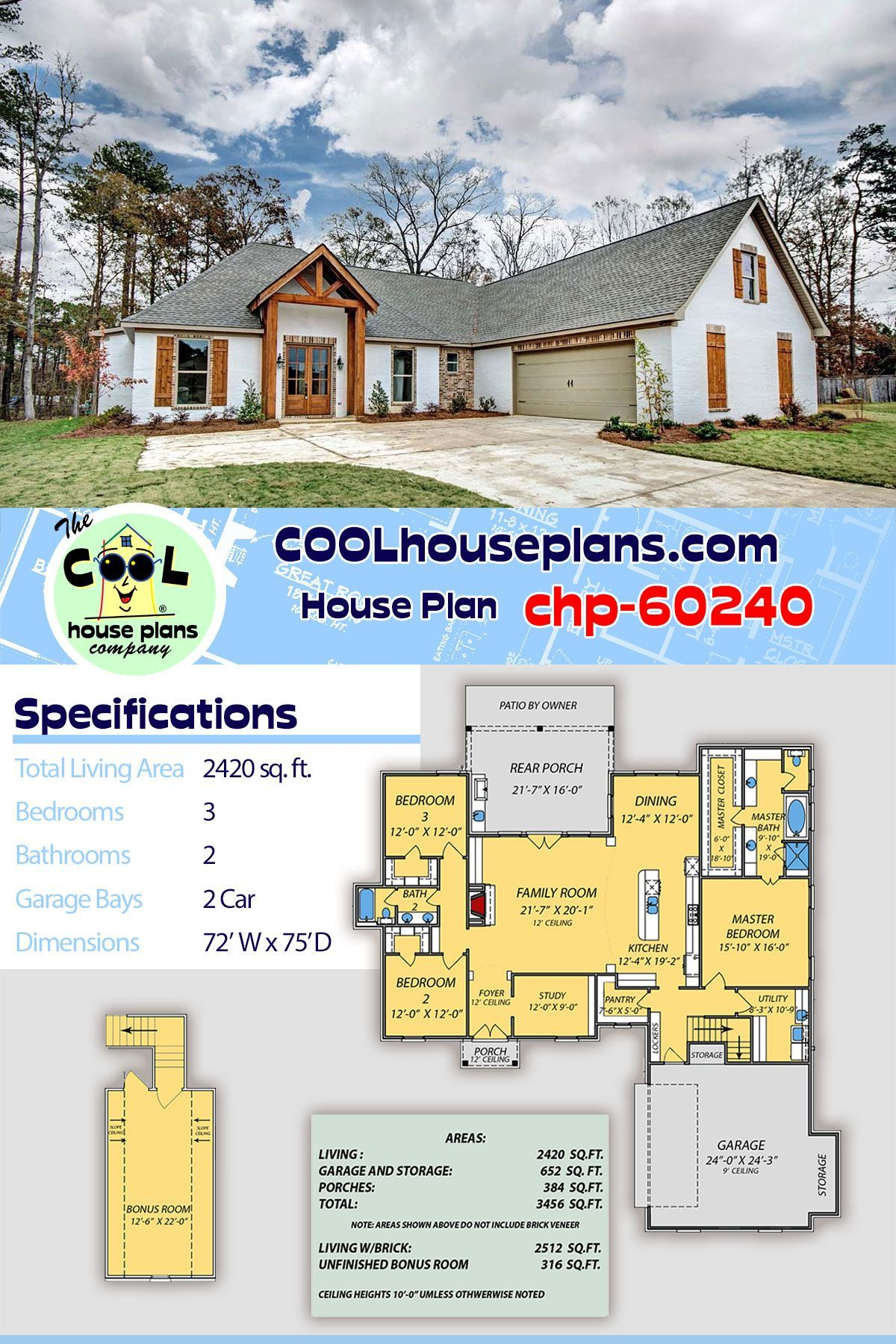 Three Bedroom Two Bathroom Country House Plan Chp 60240 New House Floor Plan With Bonus Room House Plans Country House Plan Floor Plans