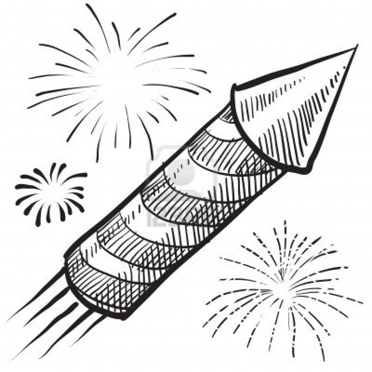 Drawing Lines Year : Doodle style fireworks or new year vector illustration
