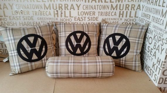 Burberry style cushions with black VW logo