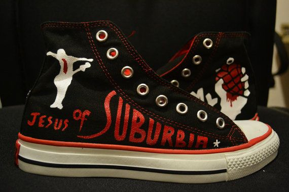 Hand Painted American Idiot Green Day Converse by RahulMistry Shoes Tennis 52883992e