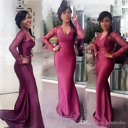 b5e46634562 Burgundy South African Long Bridesmaid Dresses For Wedding Lace Long Sleeve  Mermaid Maid Of Honor Gowns Wedding Guest Formal Dress 2018