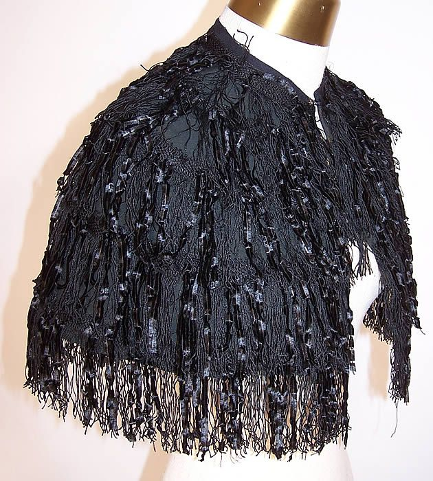Victorian Black Silk Chenille Fringe Short Cropped Cloak Cape Capelet side view.