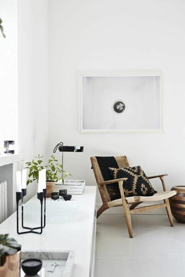 landhausstil wohnzimmer modern einrichten flechtmöbel stuhl - landhausstil wohnzimmer modern