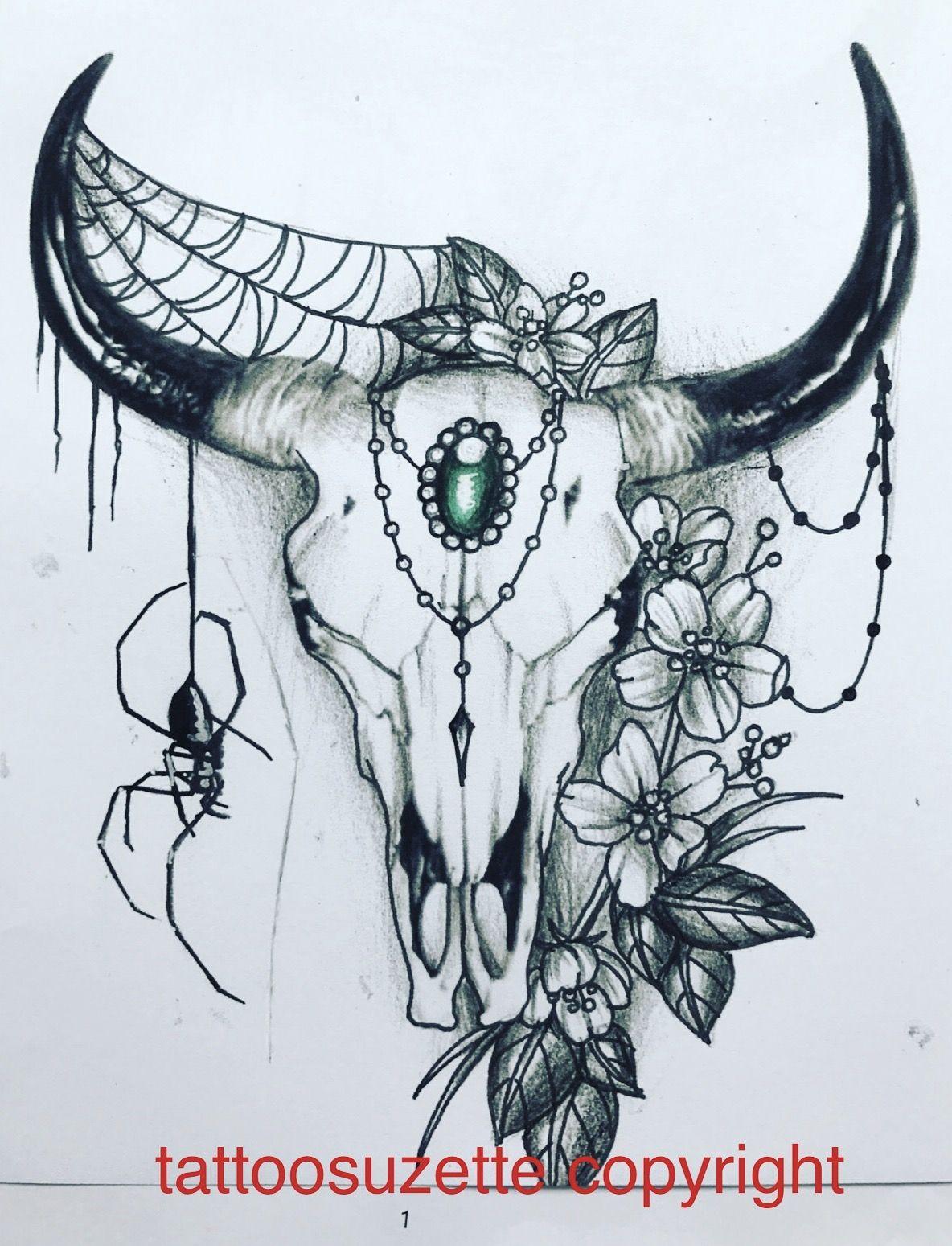 bull skull tattoo design tattoos pinterest tatuajes calaberas y dibujos. Black Bedroom Furniture Sets. Home Design Ideas