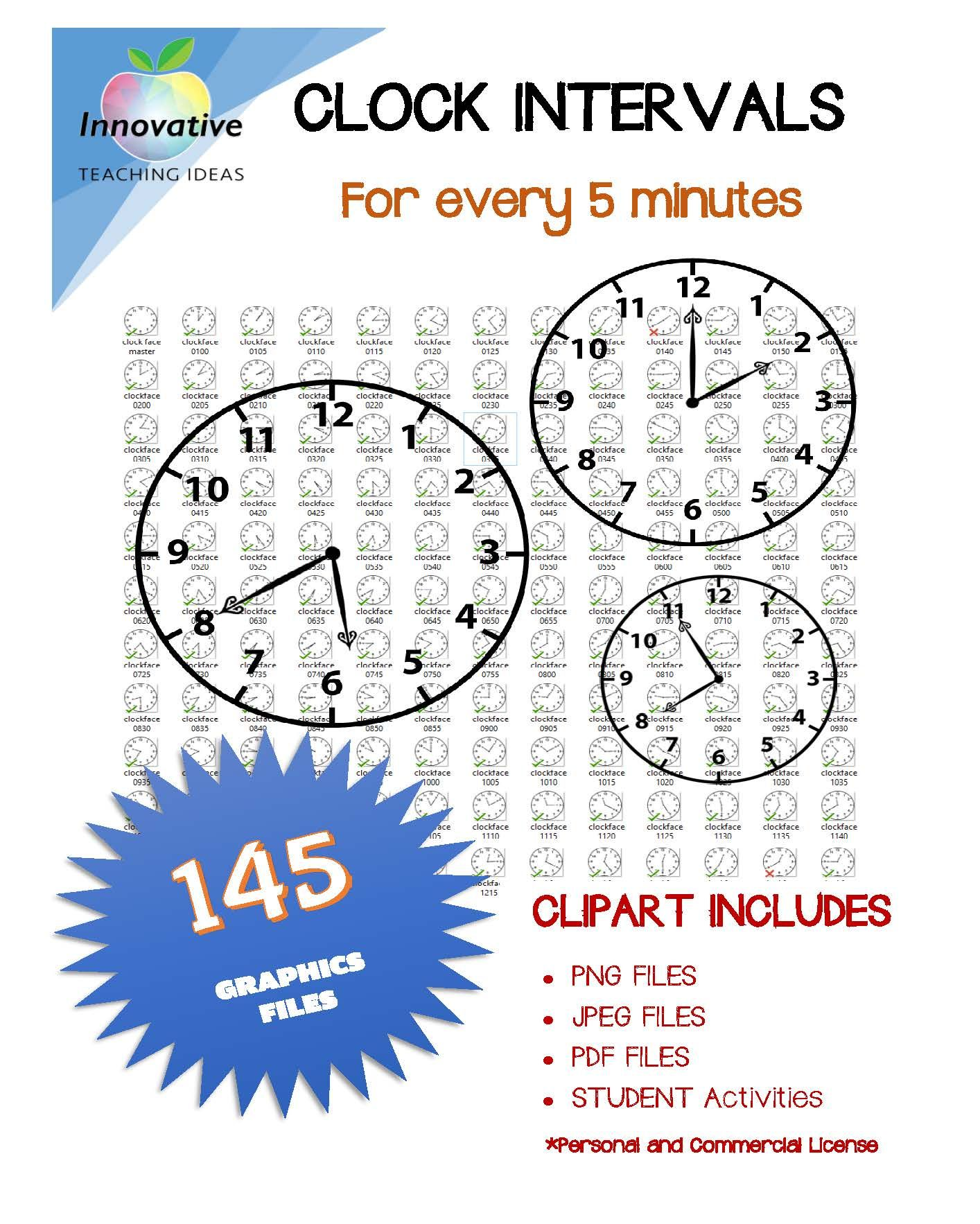 Clock Face Clip Art Set 5 Minute Intervals 145 Graphics