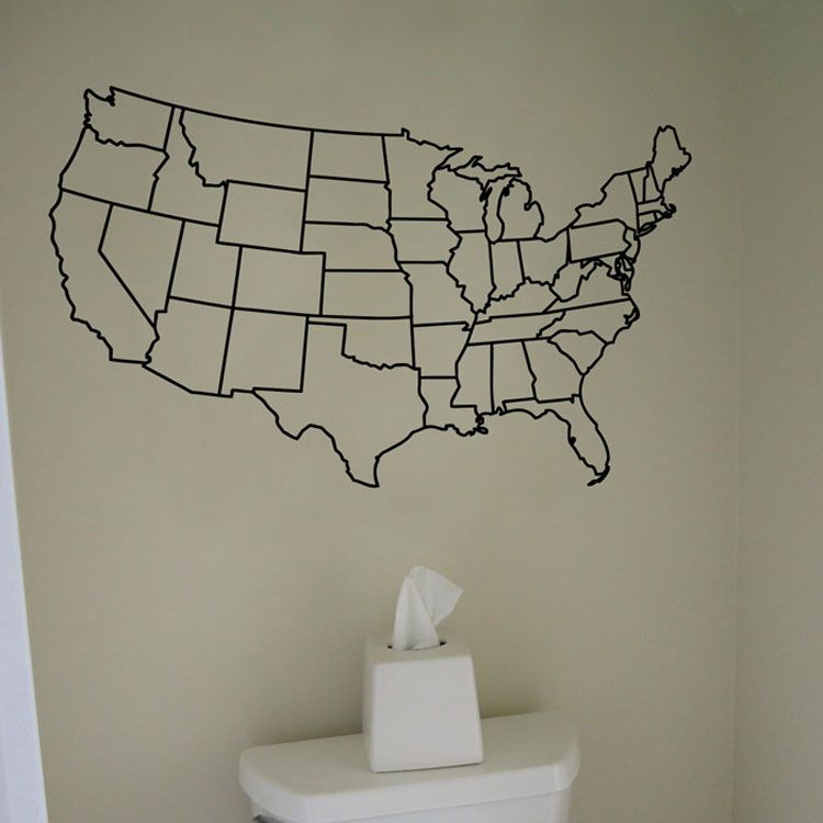 Us United States Map Wall Decal Vinyl Sticker Graphic Maybe Not In
