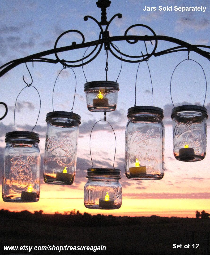 Outdoor String Lights Holders : DIY Party Lanterns 12 Wide Mason Jar Hangers for Wedding Candles, Flowers or String Lights ...