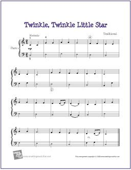 Le Little Star Free Nursery Rhyme Sheet Music For Easy Piano Http