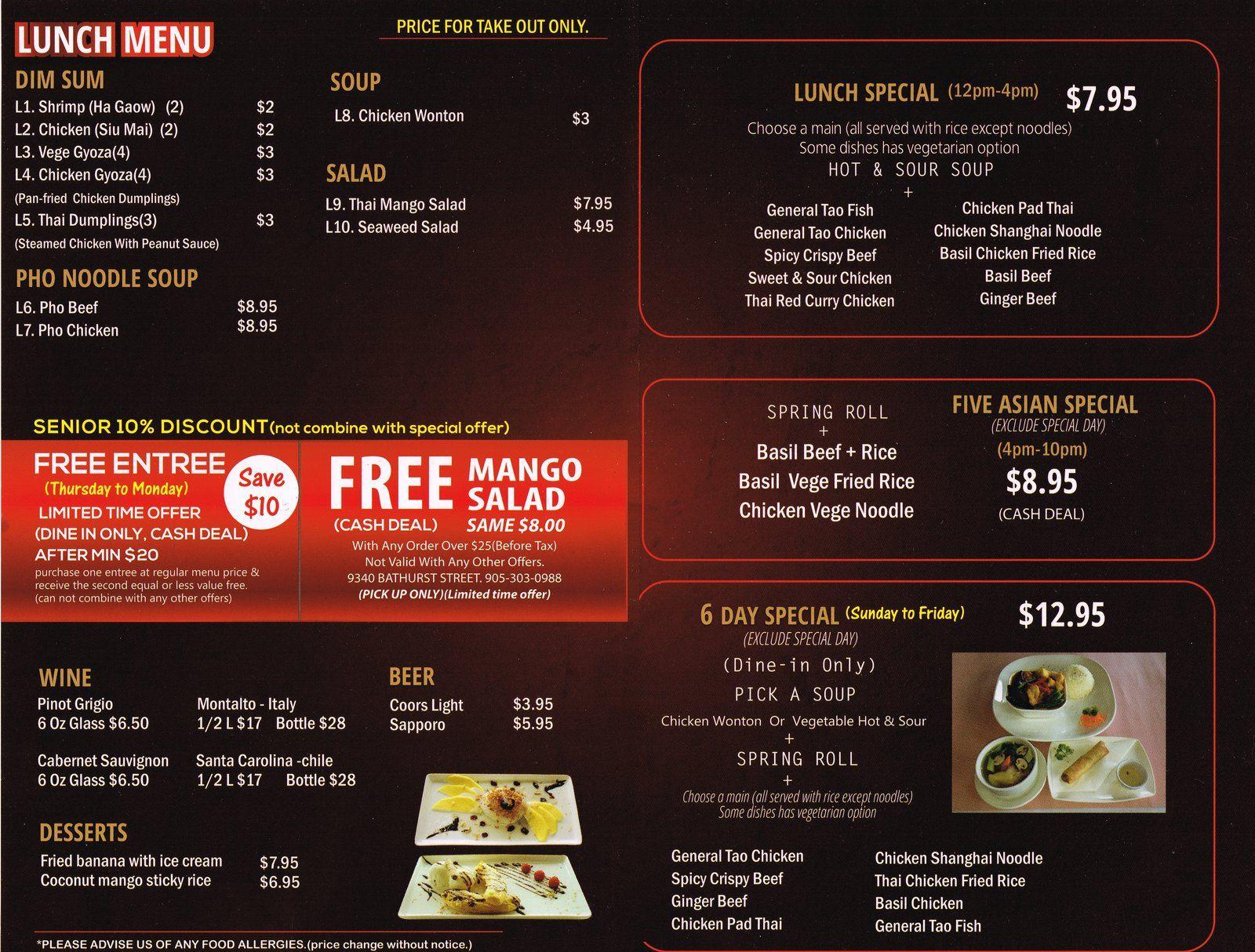 Five Asian Menu Menu Restaurant Menu Lunch Specials