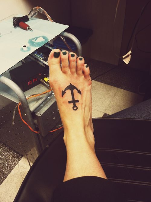 black and simple anchor tattoo on foot for women cool
