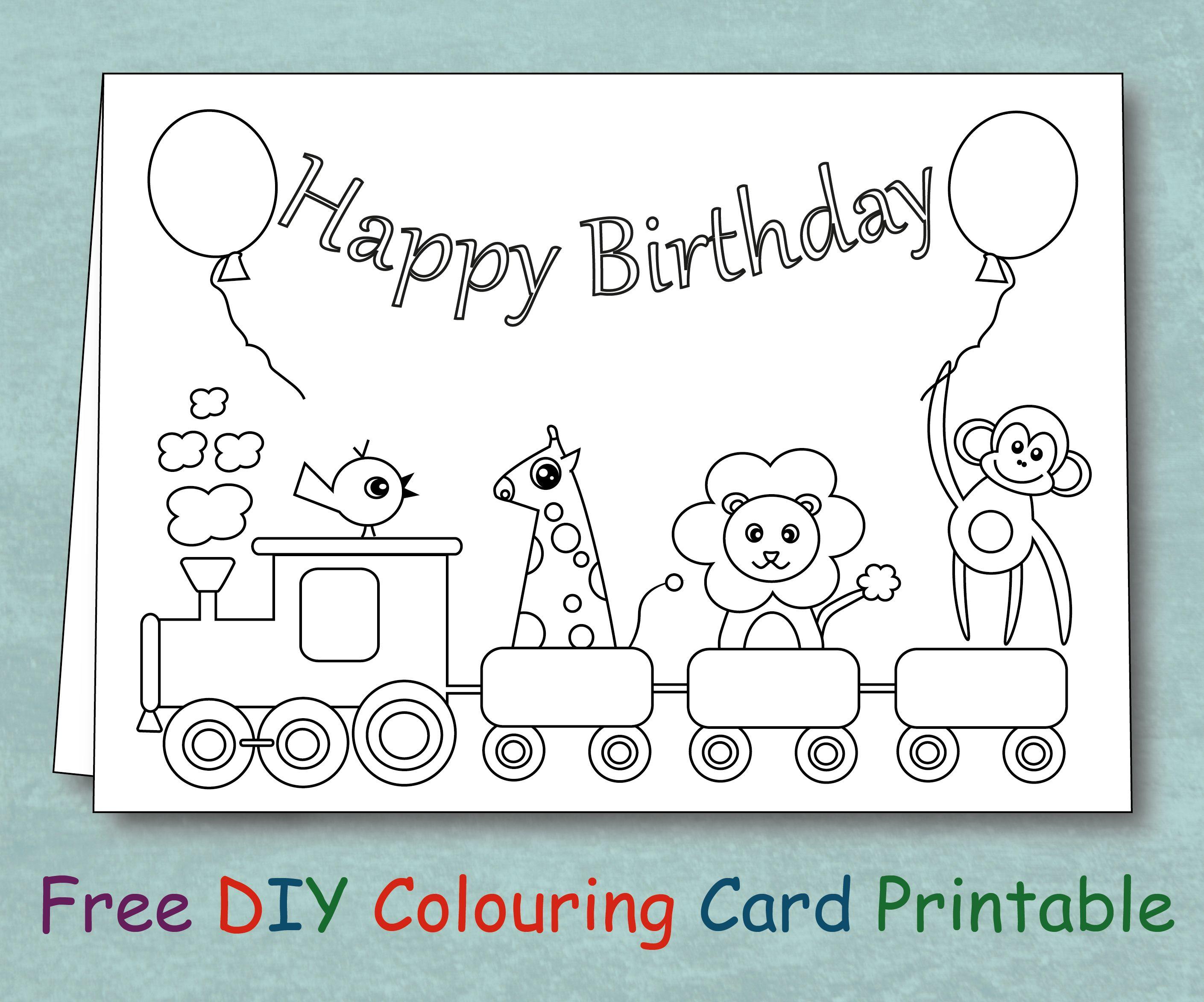 Free Animal Train Birthday Card Coloring Printable Templates Printable Free Happy Birthday Free Birthday Cards