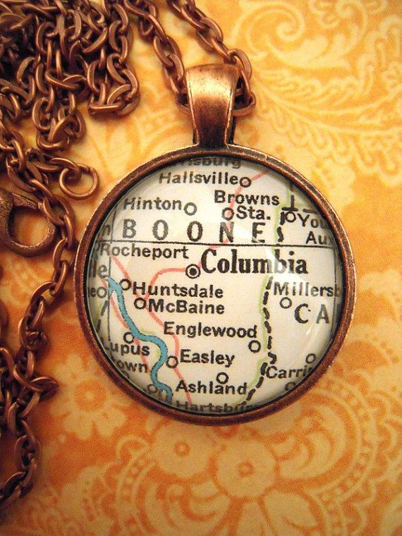 Vintage Columbia Missouri University Map Pendant Necklace