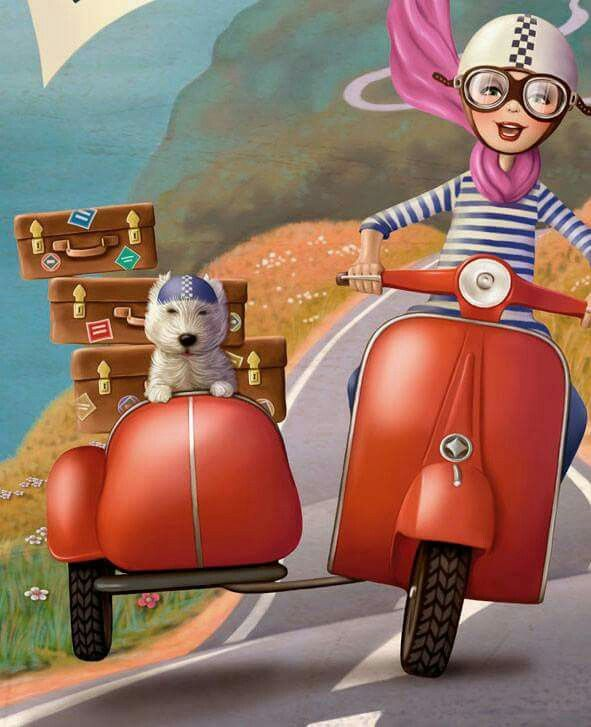 Scooter And Side Car Whimsical Art Cute Art Cute Illustration