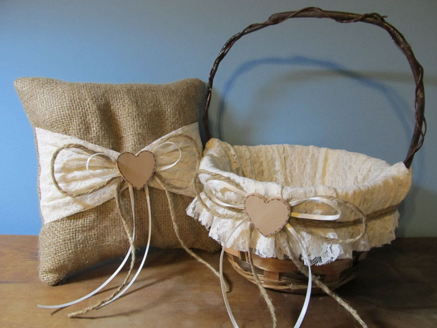 Rustic flower girl basket and ring bearer pillow burlap and ivory rustic flower girl basket and ring bearer pillow burlap and ivory lace personalized for your special day izmirmasajfo Images