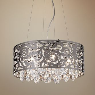 Black Nickel And Crystal Round Pendant Chandelier 97760 Lamps Plus Pendant Chandelier Beautiful Chandelier Chandelier