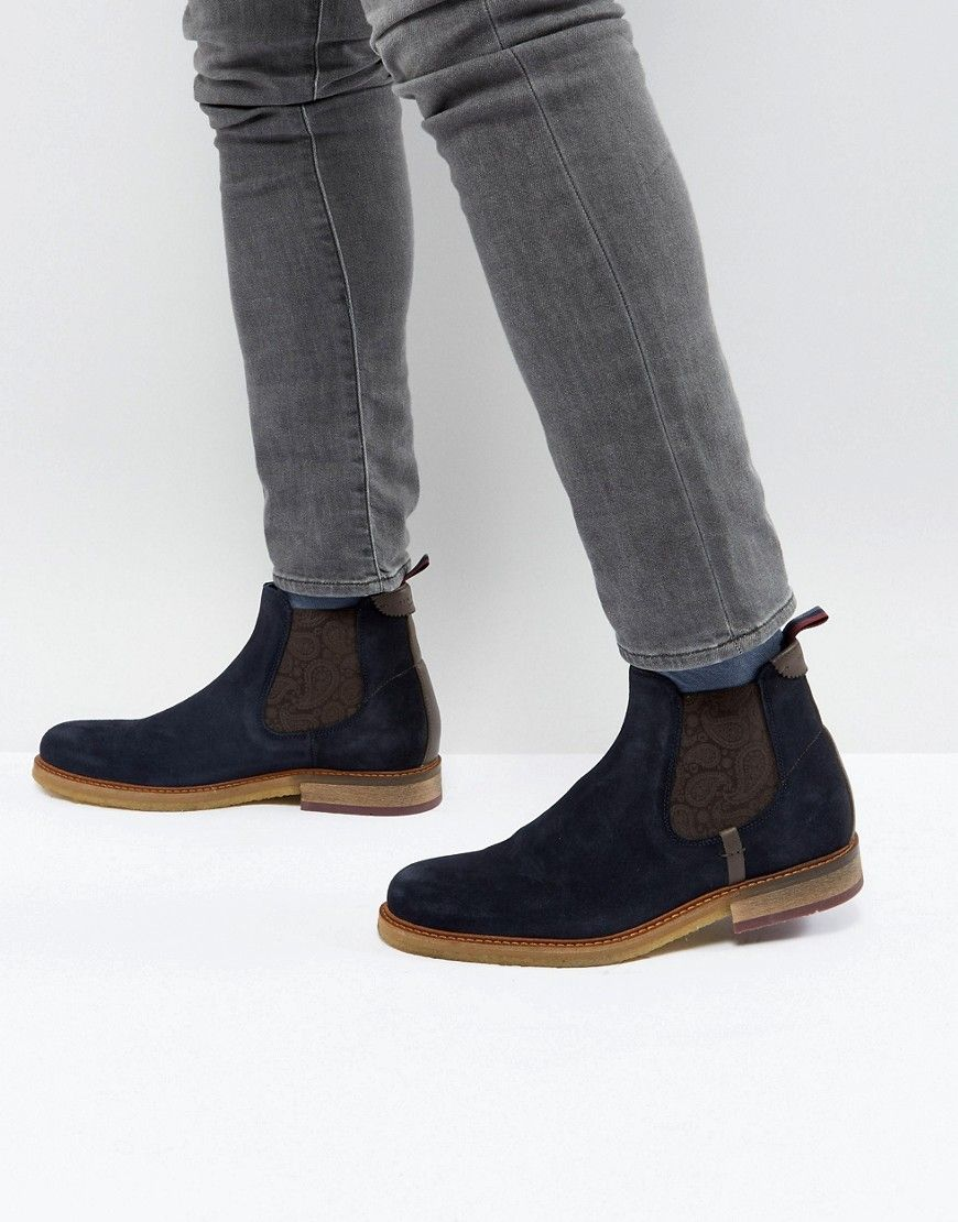 216a95124f946a TED BAKER BRONZO SUEDE CHELSEA BOOTS - NAVY.  tedbaker