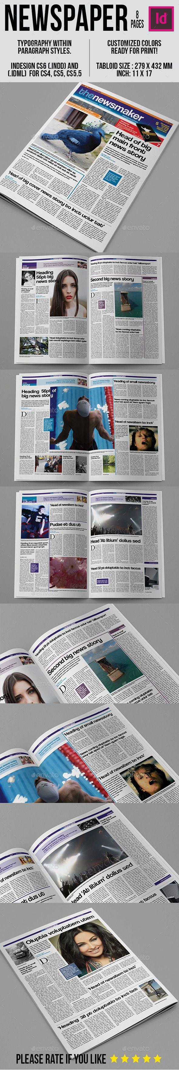 Tabloid Newspaper Template   Diseño editorial y Editorial
