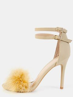 db84d4cc4ff3 Single Sole Feather High Heels NUDE