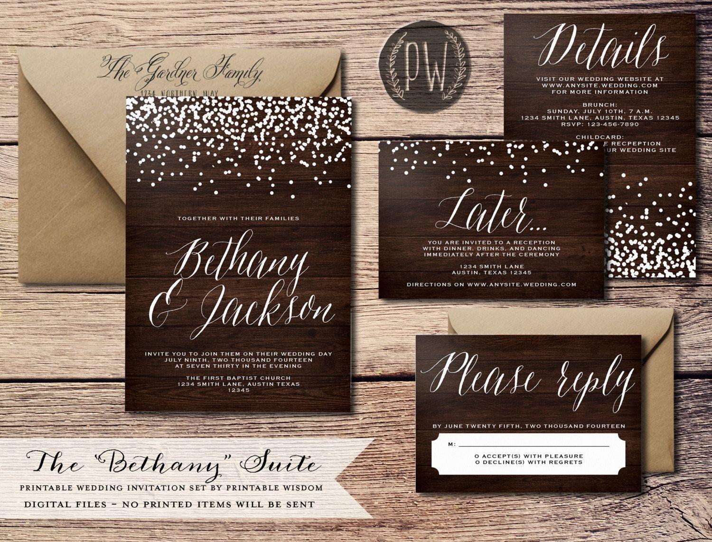 Printable Wedding Invitation Suite Wood Grain Invite Vintage Style Rustic Digital Wisdom