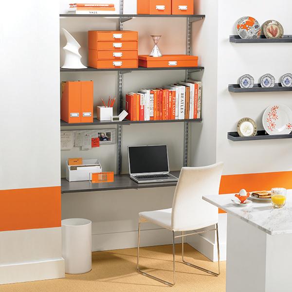 Driftwood Platinum Elfa Wall Mounted Desk Shelves Wall Mounted Desk Traditional Interior Design