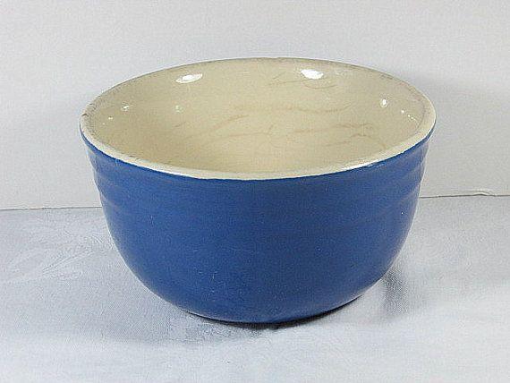 Vintage COBALT BLUE Mixing Bowl FARM House by LavenderGardenCottag etsy